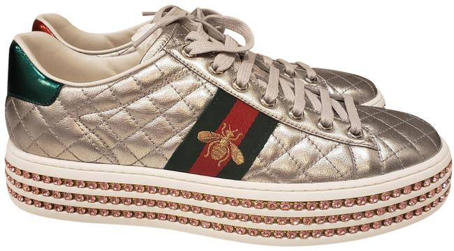 Item - Silver New Ace Quilted Leather Lace Up Jewel Crystal Platform Sneakers Size EU 39.5 (Approx. US 9.5) Regular (M, B)