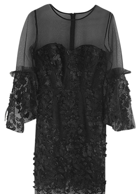Item - Black Evening Mesh Mid-length Night Out Dress Size 4 (S)