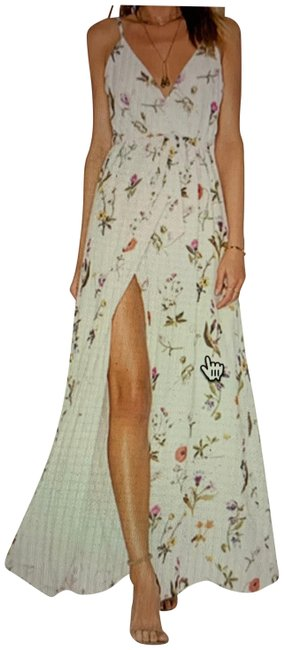 Item - White Green Orange Floral Long Casual Maxi Dress Size 4 (S)