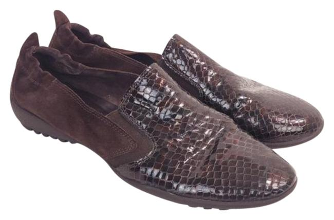 Item - Brown Suede Patent Snakeskin Prints Leather Loafers Flats Size US 10 Regular (M, B)
