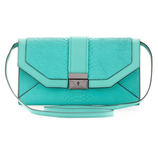 Item - Clutch Emeline Snake-embossed Turquoise New. Teal Leather Cross Body Bag