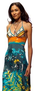 Turquoise pattern Maxi Dress by Candice Held Adjustable Silk