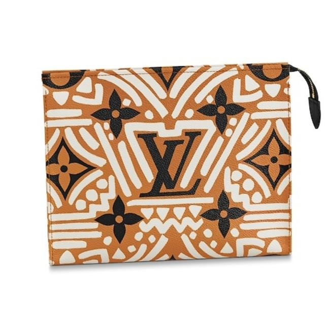 Louis Vuitton Pochette XL Crafty Toiletry Giant Monogram Limited Edition Caramel Black Coated Canvas Clutch Louis Vuitton Pochette XL Crafty Toiletry Giant Monogram Limited Edition Caramel Black Coated Canvas Clutch Image 1