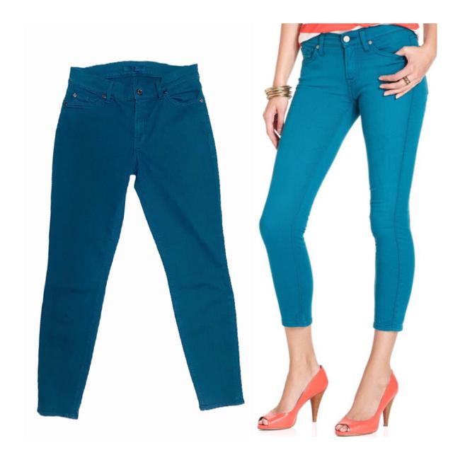 Item - Turquoise Cropped Skinny Jeans Size 4 (S, 27)