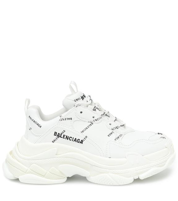 Item - White Women's Triple S Logo-print Leather Trainers Sneakers Size EU 38 (Approx. US 8) Regular (M, B)