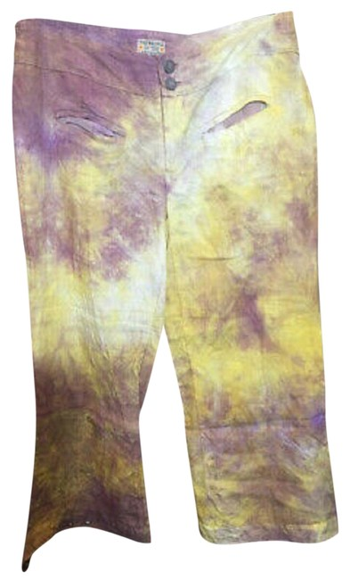 The People Of The Labyrinths Yellow Lavender Hombre Linen Pants Size 6 (S, 28) The People Of The Labyrinths Yellow Lavender Hombre Linen Pants Size 6 (S, 28) Image 1
