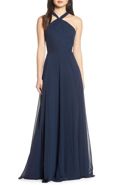 Item - Navy Blue Halle Halter Neck Long Formal Dress Size 14 (L)