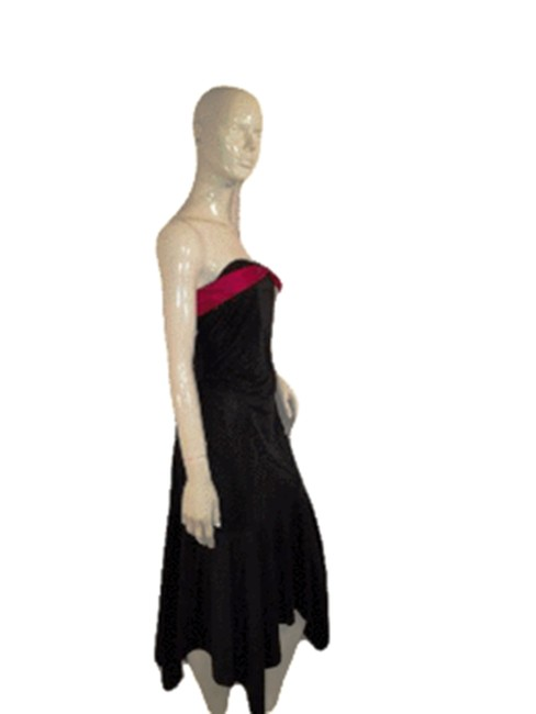 Item - Black W L Strapless W/Red Ribbon and Bow Designer Mid-length Casual Maxi Dress Size 12 (L)