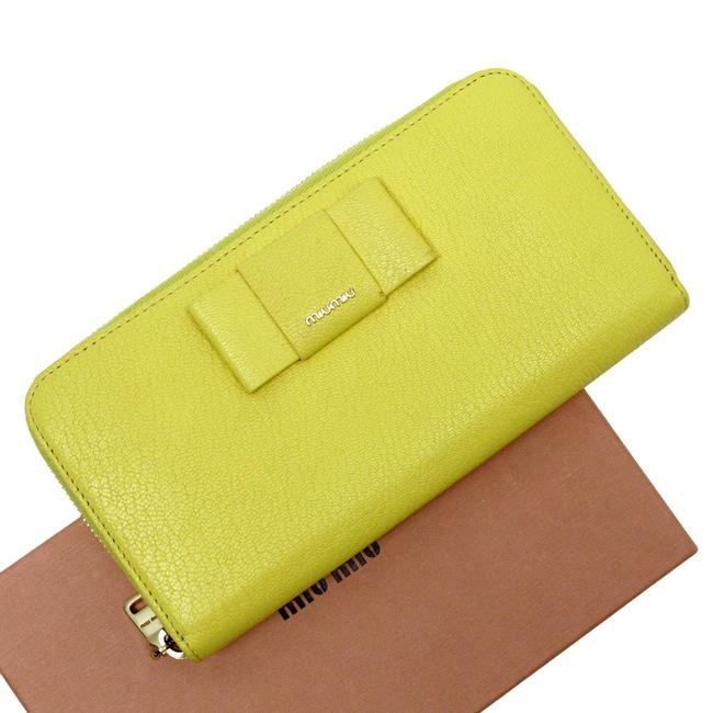 Item - Gold / Yellow Long Zipper Ribbon Leather Ladies Wallet