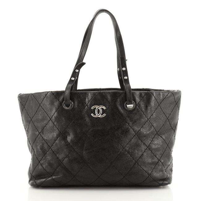 Chanel On The Road Quilted Small Black Leather Tote Chanel On The Road Quilted Small Black Leather Tote Image 1