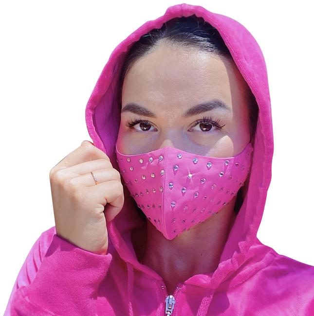 Item - Pink Rhinestones Face Mask with Filter Pocket Face Covering Adult Mask Scarf/Wrap