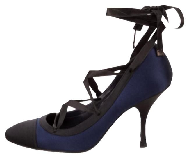 Item - Navy Black Toes Satin Pumps Size US 6.5 Regular (M, B)