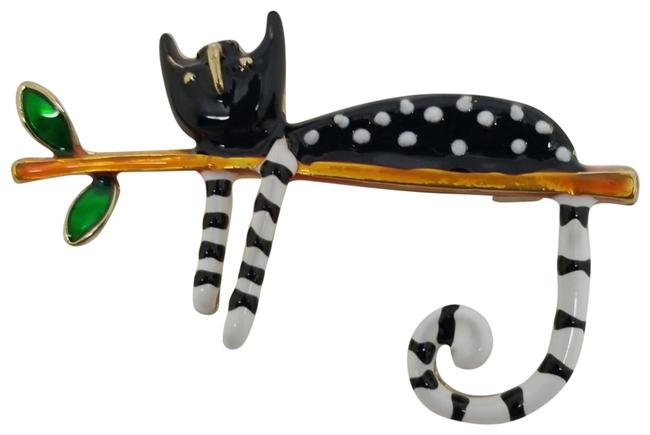 Item - Black White Green Gold-tone Cartoon Enamel Lounging On Branch Cat Brooch Pin