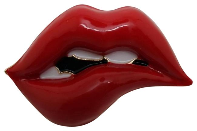 Item - Red Tone Enamel Black White Iconic Lipstick Thinking Lips Pin