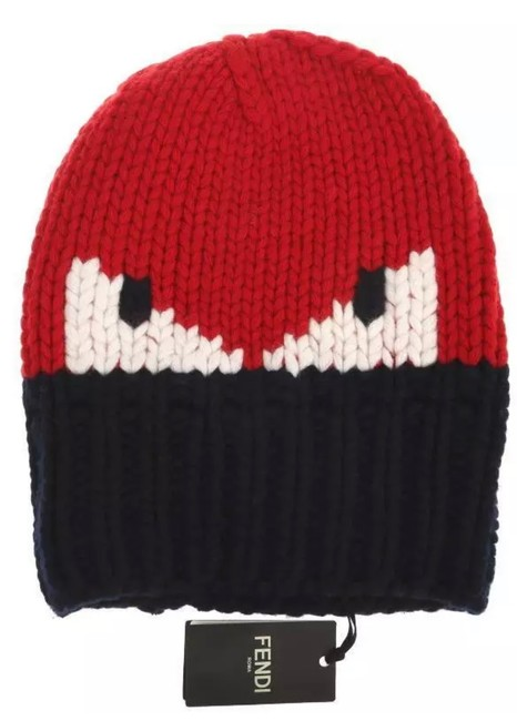 Item - New Roma Current Navy Blue Red White Monster Eyes Funky Wool Hat