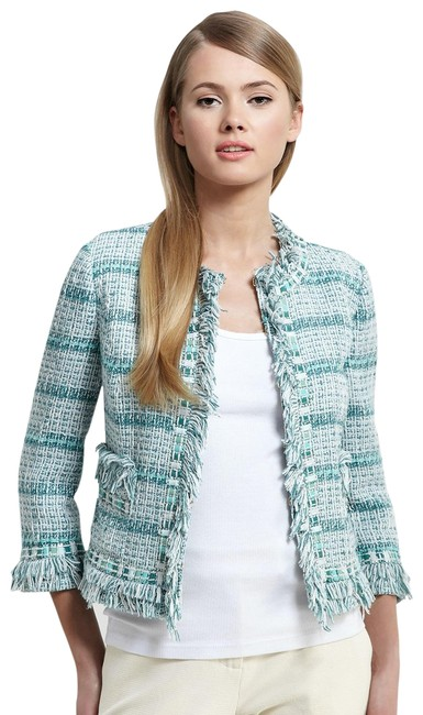 Item - Sky/Storm(Blue-green) Marion Tweed with Bead and Fringe Accents Blazer Size 10 (M)