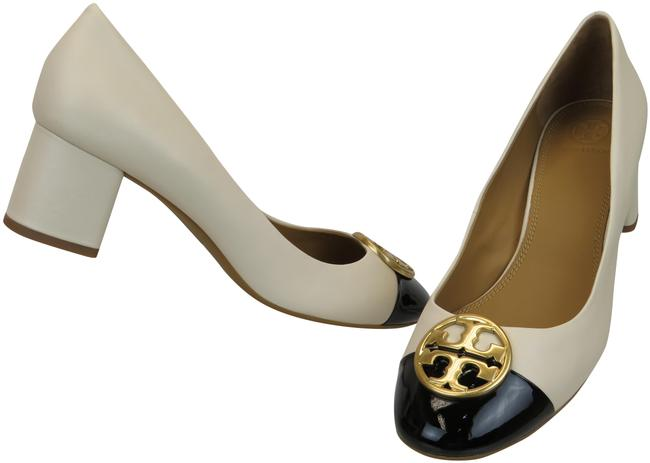 Item - Cream Chelsea 50 Black Leather Cap Toe Gold Reva Pumps Size US 9.5 Regular (M, B)