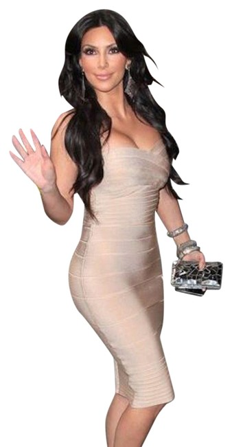"Item - Iconic Nude/Blush Ribbed Knit Bodycon ""Bandage"" Short Night Out Dress Size 2 (XS)"