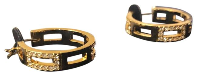 Item - Gold with While Crystals Hoops Earrings
