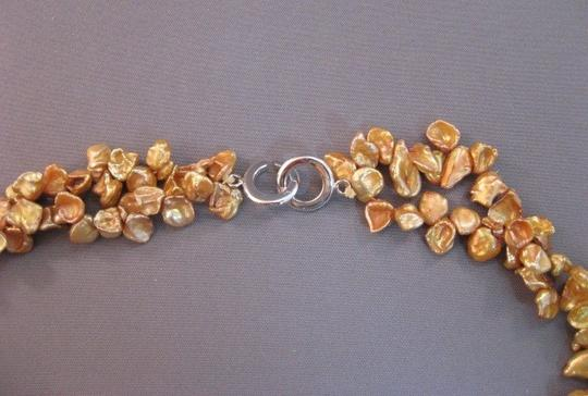 Other Gold Keshi freshwater pearl 2 strand necklace sterling silver clasp