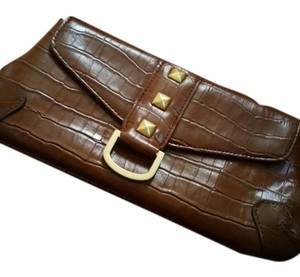 New York & Company Crocodile Handbang Cognac Clutch