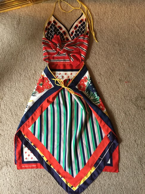 Red, White and Blue Pattern Maxi Dress by Candice Held Adjustable Vintage Silk Scarf One Of A Kind