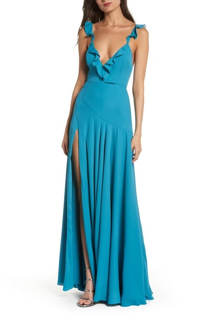 Fame and Partners The Cora Ruffle Wrap Gown Long Formal Dress Size 4 (S) Fame and Partners The Cora Ruffle Wrap Gown Long Formal Dress Size 4 (S) Image 1