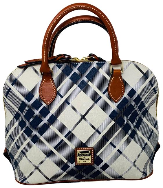 Item - Blue and White Leather Satchel