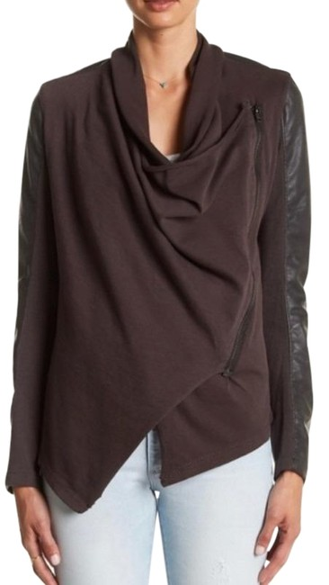 Item - Brown Private Practice Mixed Media Drape Jacket Size 4 (S)