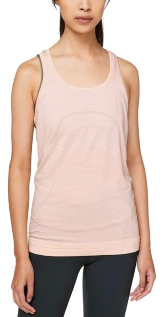 Lululemon Butter Pink/White/Pink Swiftly Speed Racerback Activewear Top Size 8 (M) Lululemon Butter Pink/White/Pink Swiftly Speed Racerback Activewear Top Size 8 (M) Image 1