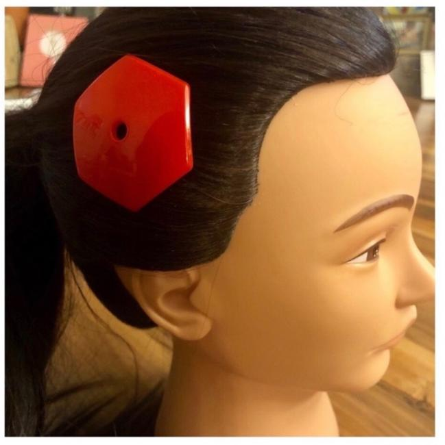 Item - Red Vintage Mod Barrette Hair Accessory