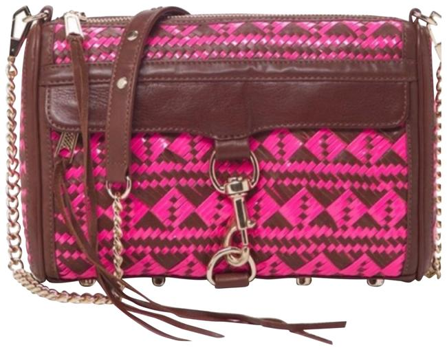 Item - Mac Woven Neon Pink/ Brown Leather Cross Body Bag