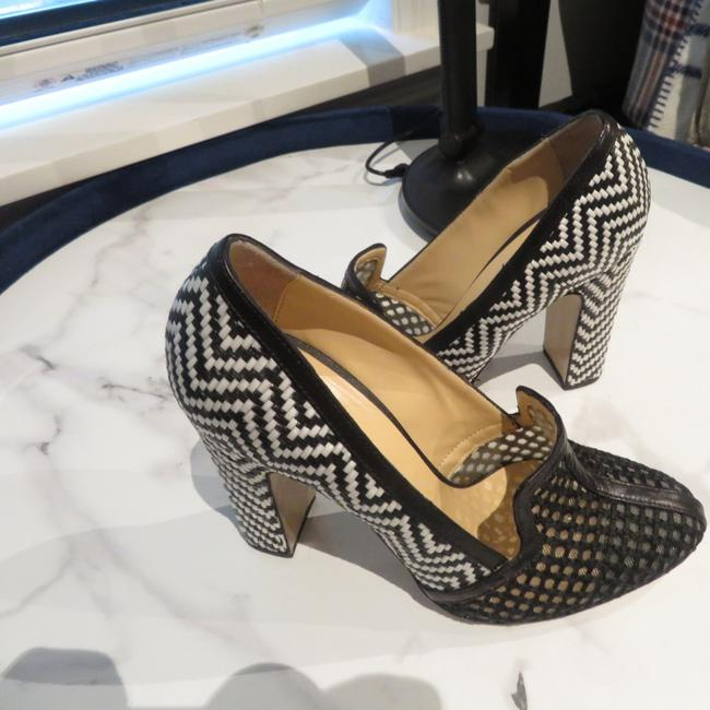 Item - Black and White Lucinda Raffia Pumps Size US 7 Regular (M, B)