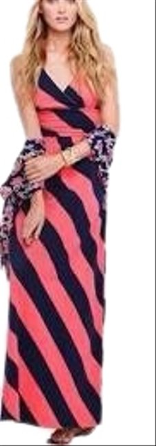 Item - Pink Navy Striped Long Casual Maxi Dress Size 2 (XS)
