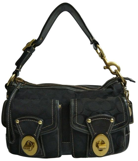 Coach 1941 Shoulder Bag Legacy 65th Anni. Collection Turnlock Black Canvas Leather Satchel Coach 1941 Shoulder Bag Legacy 65th Anni. Collection Turnlock Black Canvas Leather Satchel Image 1