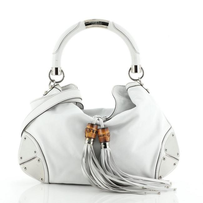Gucci Indy Medium White Leather Hobo Bag Gucci Indy Medium White Leather Hobo Bag Image 1