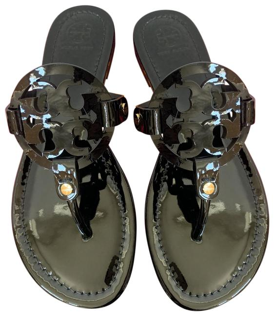 Tory Burch Black T Miller Patent Leather Double-t Logo Sandals Size US 9.5 Regular (M, B) Tory Burch Black T Miller Patent Leather Double-t Logo Sandals Size US 9.5 Regular (M, B) Image 1