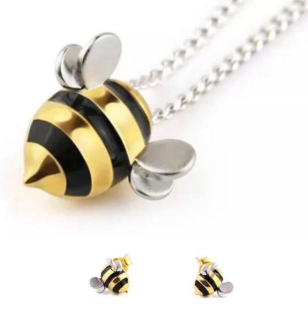 Gold Stainless Steel/ Black Enamel Big Girls/ Women New Cute Little Bee 925 Sterling Silver and Pendant Necklace Gold Stainless Steel/ Black Enamel Big Girls/ Women New Cute Little Bee 925 Sterling Silver and Pendant Necklace Image 1