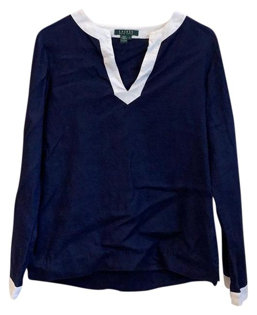 Item - Navy Blue and White Linen Small Tunic Size 4 (S)