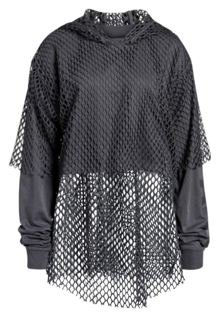 Item - Gray Double Layer Mesh Overlay Cropped Activewear Outerwear Size 16 (XL, Plus 0x)