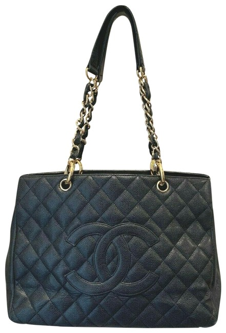 Item - Grand Shopping Gst Gold Hardware Black Leather Tote