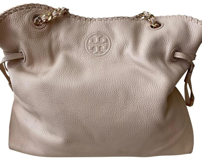 Tory Burch Thea Slouchy Chain Tote Sweet Melon (Dusty Pink) Pebbles Leather Satchel Tory Burch Thea Slouchy Chain Tote Sweet Melon (Dusty Pink) Pebbles Leather Satchel Image 1