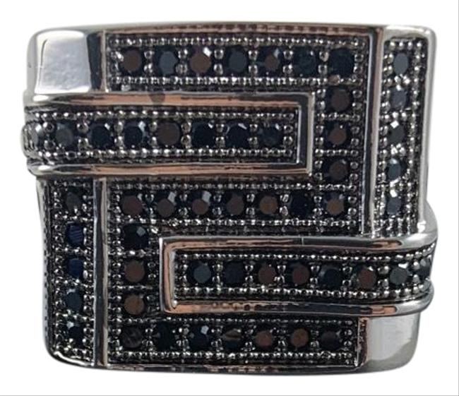 Item - Black 8 Bedazzled Silver Ring