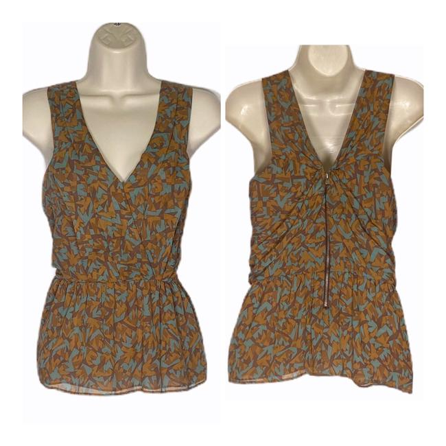 Item - Teal and Tan Sleeveless Silk Abstract Print Surplice Blouse Size 6 (S)