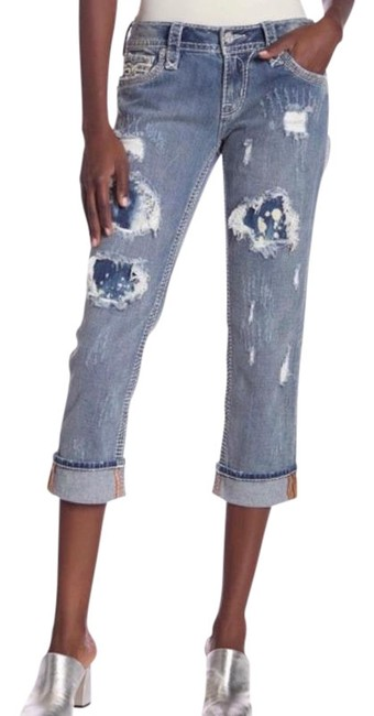 Item - Blue Light Wash Addie Easy Distressed Capri/Cropped Jeans Size 24 (0, XS)