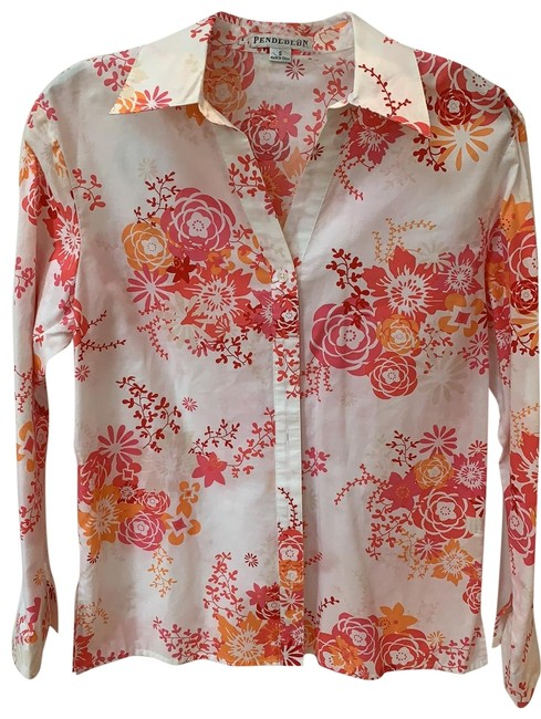 Item - Multi Floral Button Blouse Size 4 (S)