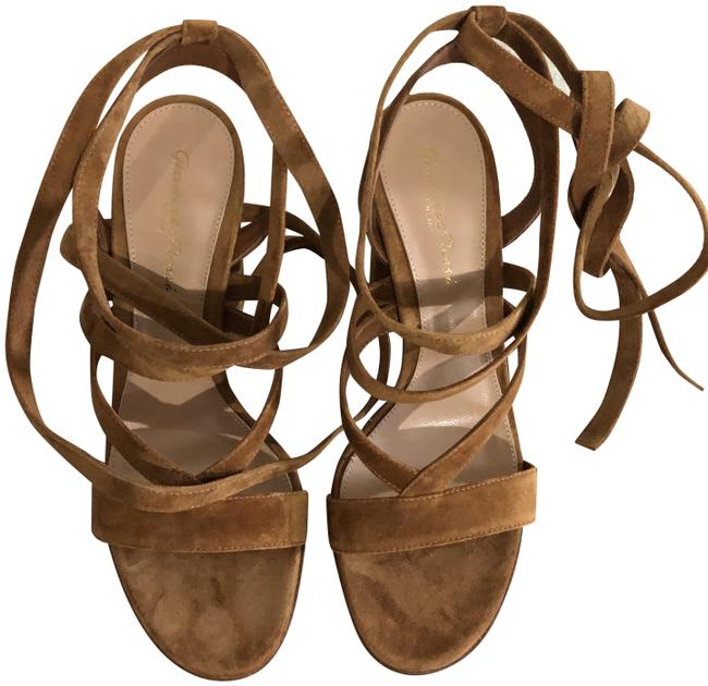 """Item - Tan/Camel Suede """"Janis"""" High In Sandals Size EU 37 (Approx. US 7) Regular (M, B)"""