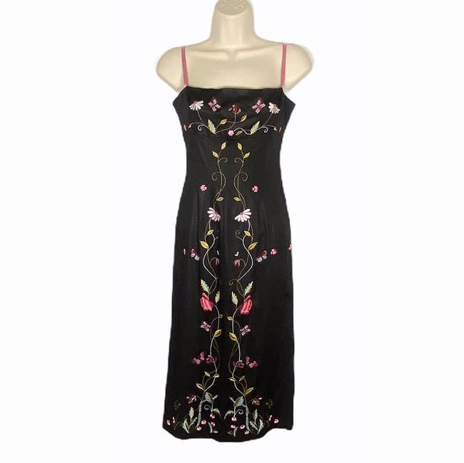 Item - Black Floral Embroidered Midi Mid-length Short Casual Dress Size 4 (S)