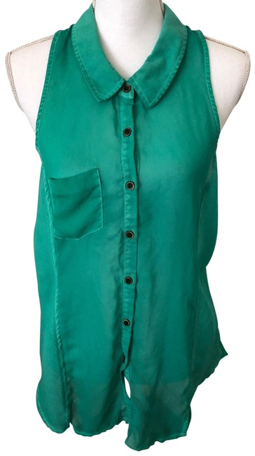 Item - Green Button-down Top Size 12 (L)