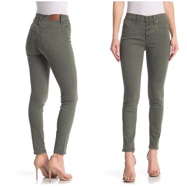 """Item - Olive Green 9"""" High Rise Garment Dyed Button Front Skinny Jeans Size 4 (S, 27)"""